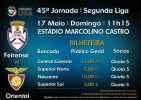 Bilheteira | Feirense vs Oriental | Domingo, 11h15